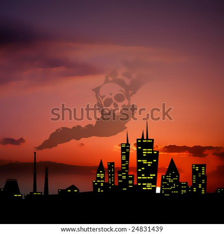 polluted city in the sunset