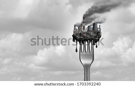 Pollution and food and toxic pollutants in nutrition as eating a contaminated meal as a fork with industrial toxins or climate change affects on the body with 3D illustration elements. Stock fotó ©