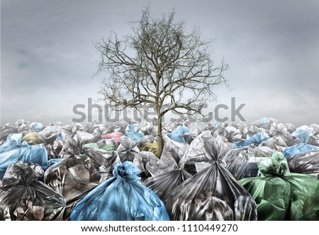 Pollution concept. Dead tree in area full of trash on a gloomy background. Save planet.