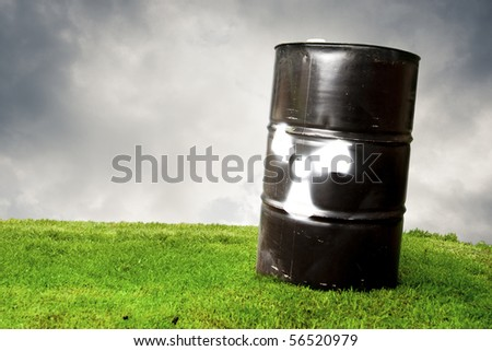 pollution concept using a drum barrel with hazard logo