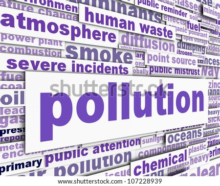 Pollution message with power station chimney and smoke. Environmental pollution conceptual design