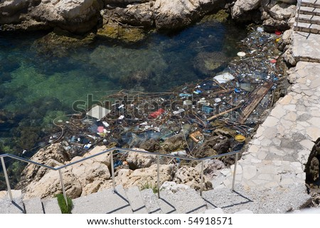 Pollution of clear sea water