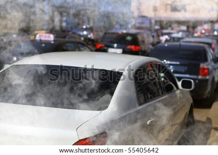 pollution of environment by combustible gas of car