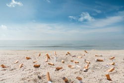 pollution on the beach due to many cigarette fag