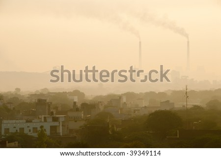 Pollution over the Indian city of New Delhi