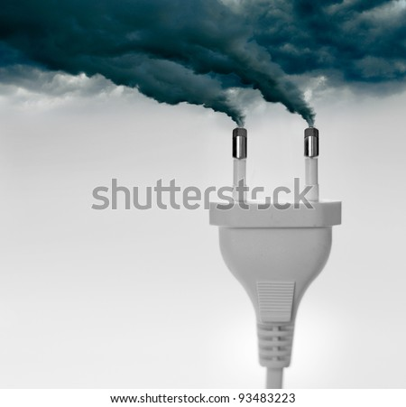 Pollution smoke going out a plug - Pollution/Ecology Concept