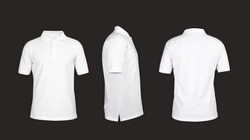 Polo t shirt template, front view, sideways, behind on the grey background