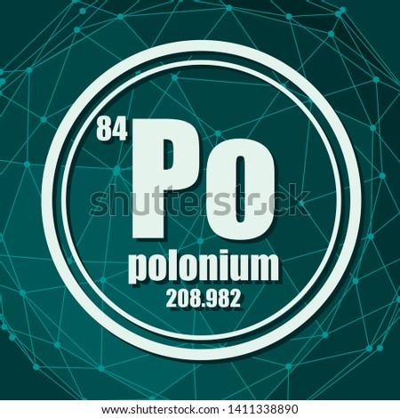 Polonium chemical element. Sign with atomic number and atomic weight. Chemical element of periodic table. Molecule And Communication Background. Connected lines with dots.