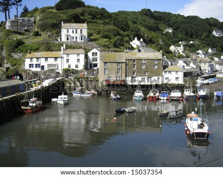 Polperro harbour a Cornish fishing village on the south coast