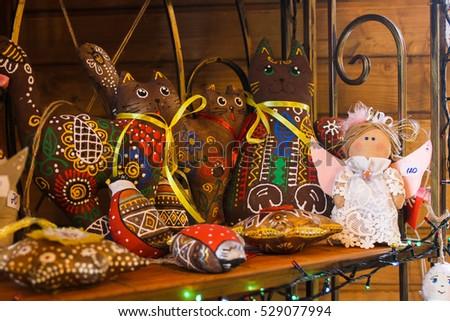 POLTAVA, UKRAINE - Soft toy handmade Christmas #529077994