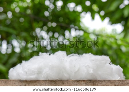 Polyester stable fiber on wooden plank with green background