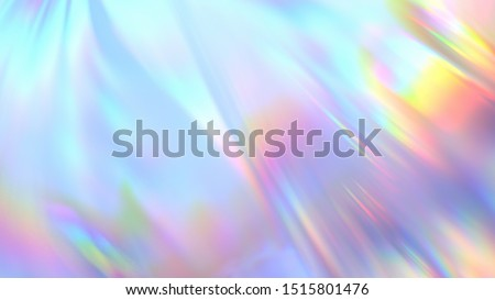 Polyethylene. Transparent Rainbow Plastic or Glass. Holographic Rainbow foil. 3D render