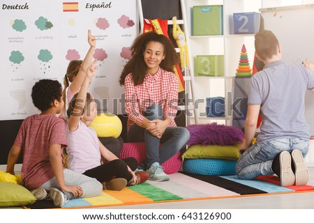 Polyglot children answering question in language school/Polyglot children answering question/Sunny, partly cloudy, cloudy, rainy, snowy, sleeting, icy, tornado, thumde