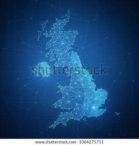Polygon United kingdom map with blockchain technology peer to peer network on futuristic hud background. Network, e-commerce, bitcoin trade and cryptocurrency blockchain business banner concept.