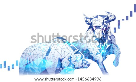 Polygonal art of Stock market Bullish vs Bearish trend with stock indicator double exposure suitable for Stock Marketing or Financial Investment Foto stock ©