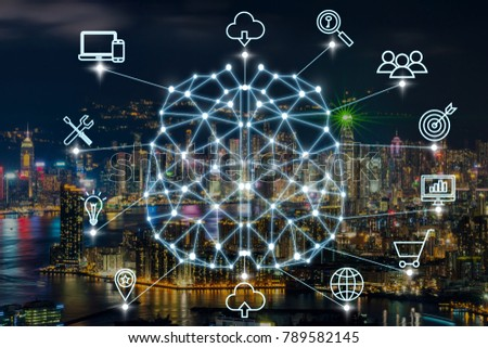 Polygonal brain shape of an artificial intelligence with various icon of smart city Internet of Things Technology over businessman using mobile with cityscape background, AI and business IOT concept