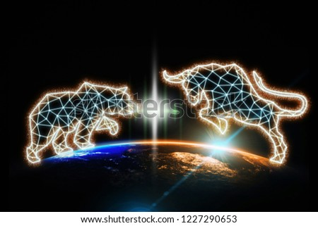 polygonal bull and bear shape writing by lines and dots over Part of earth with sun rise and lens flare background, Elements of this image furnished by NASA