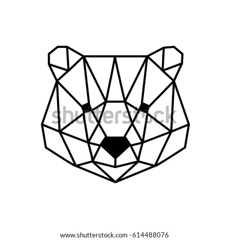 Polygonal Head Of Bear Isolated On White 614488076