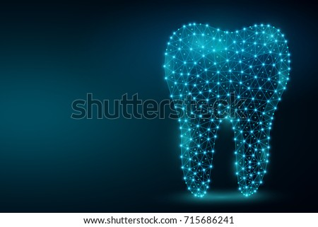 Polygonal tooth abstract image, isolated on black background. Dental and orthodontics concept illustration. Low poly wireframe, geometry triangle, lines, dots, polygons, shapes