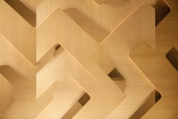Polygonal wooden panels. Abstract material background photo for construction industry, modern technology and architecture. Unusual decorative design with frames. Irregular geometrical pattern.