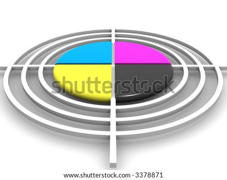 Polygraphic target. CMYK. 3d