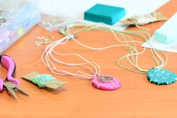 Polymer clay jewelry pendants. Tools and materials to create women's jewelry from polymer clay. Home based business ideas for women