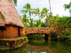 Polynesian village. Hawaii. Oahu. USA.