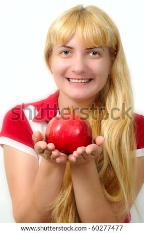 pomegranate  and apple - stock photo