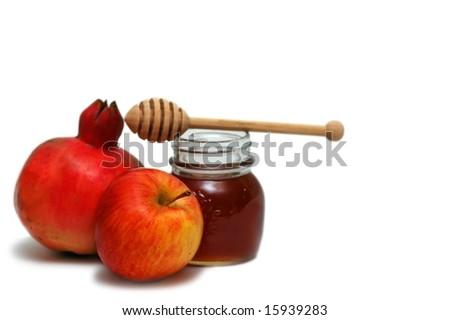 Pomegranate, apple and honey- jewish new year symbols