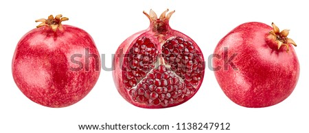 Pomegranate collection Isolated on a white background. Clipping Path