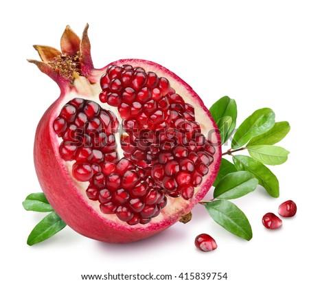 Pomegranate fruit with pomegranate leaves on the white background.