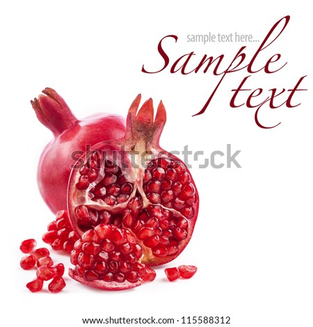 Pomegranate fruits isolated on white background