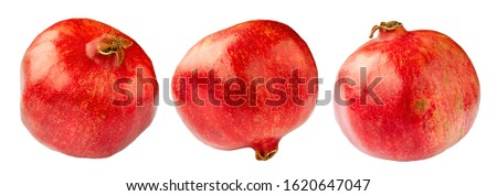 Pomegranate isolated on a white background without shadow. Pomegranate set. Whole pomegranate isolated on a white background. Pomegranate isolated on white in different angles.