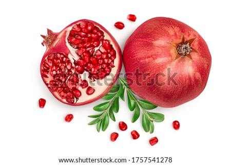 Pomegranate isolated on white background with clipping path and full depth of field. Top view. Flat lay Сток-фото ©