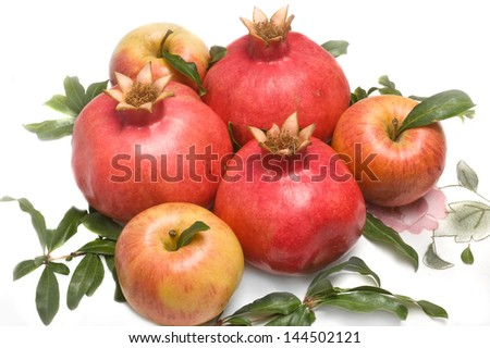 pomegranates with apple for Rosh Hashana � jewish new year