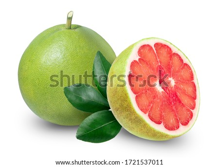 Pomelo isolated on white background with Clipping path, Red Pomelo citrus fruit with leaves on white background. Pomelo on white with Clipping path Foto stock ©