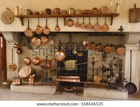 POMMARD, FRANCE -OCTOBER 6:The Ancient Kitchen at Chateau de Pommard winery on October 6, 2013. Chateau de Pommard is a 18th century castle famous for winery with 20 hectares vineyard and art gallery