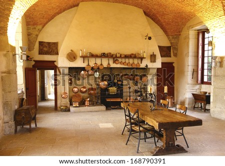 POMMARD, FRANCE - OCTOBER 6 The Ancient Kitchen at Chateau de Pommard winery on October 6, 2013  Chateau de Pommard is a 18th century castle famous for winery with 20 hectares vineyard and art gallery