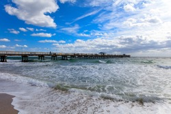 Pompano Beach Pier Broward County Florida at the Beach by stormy weather
