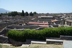 Pompeii aerial view, famous ancient city archaeological site near Mount Vesuv, popular tourist guided tour destination, Pompei, Italy