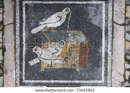 Pompeii doves mosaic, in Italy.
