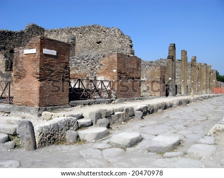 Pompeii is a ruined and partially buried Roman town-city near modern Naples