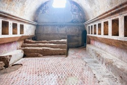 Pompeii, Italy - October 1, 2017: Interior of public baths in ancient city Pompeii, Naples, Italy
