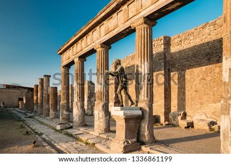 Pompeii, Italy. Statue Of Apollo Near Temple Of Apollo On Territory Of Forum.