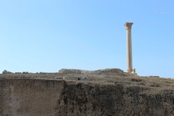 Pompey`s Pillar or Serapeum pillar is the name given to a Roman triumphal column in Alexandria, Egypt. Set up in honour of the augustus Diocletian between 298-302 AD, the giant Corinthian column