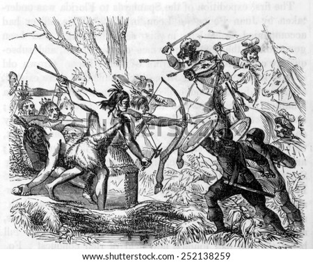 Ponce de Leon (1460?-1521), spanish explorer mortally wounded during battle with Native Americans in Florida, 1521