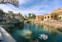 Pond at Kathas Raj temple in Punjab, Pakistan.