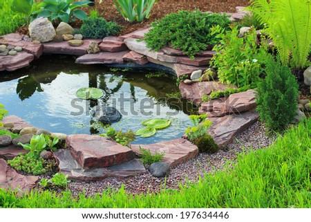 Pond in landscape design.
