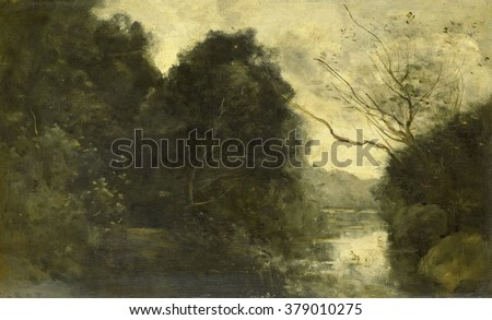 Pond in the Woods, by Camille Corot, 1840-75, French painting, oil on panel.