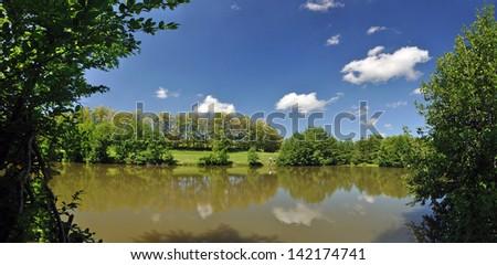pond landscape panorama